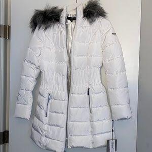 Faux Fur Trim White Puffer Coat